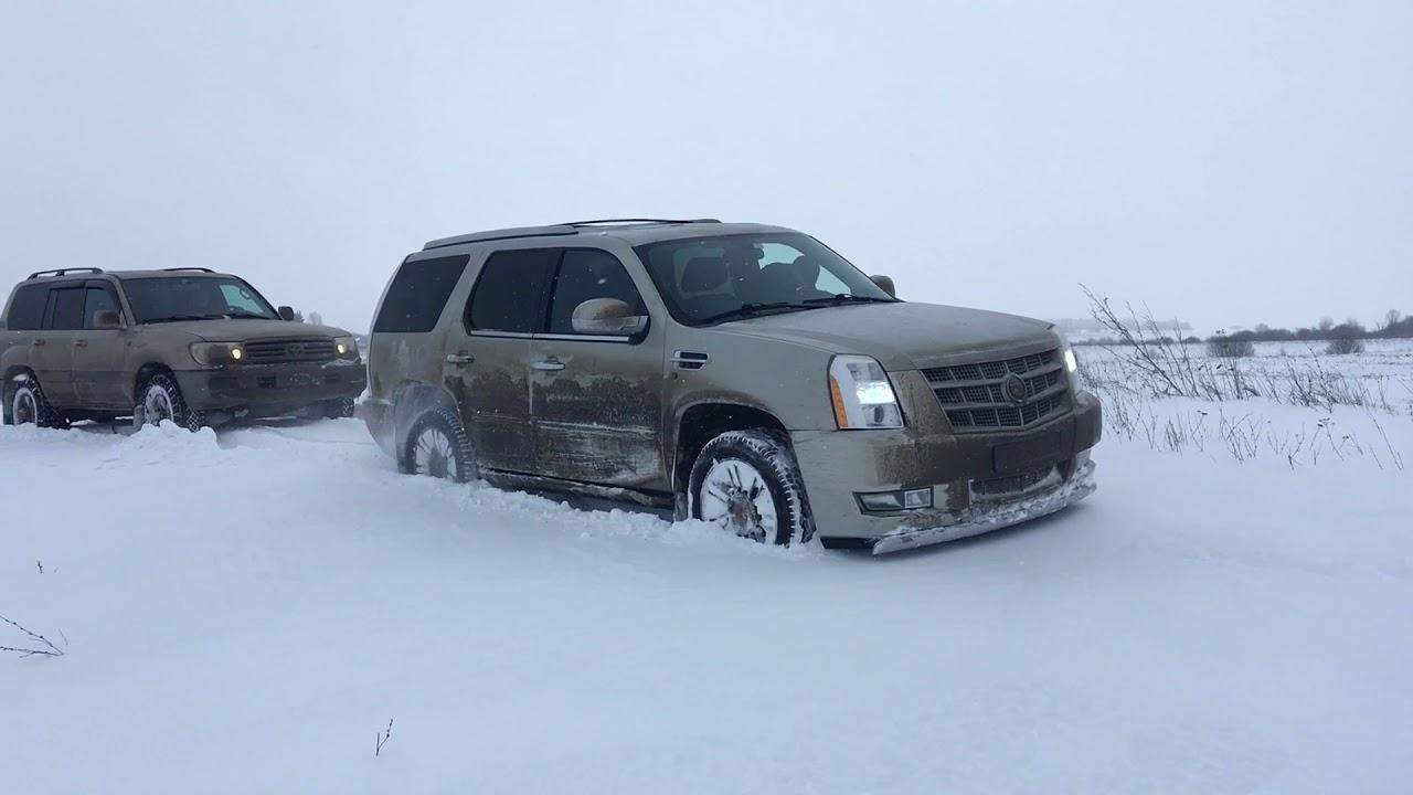 Эскалейд и ленд крузер по снегу