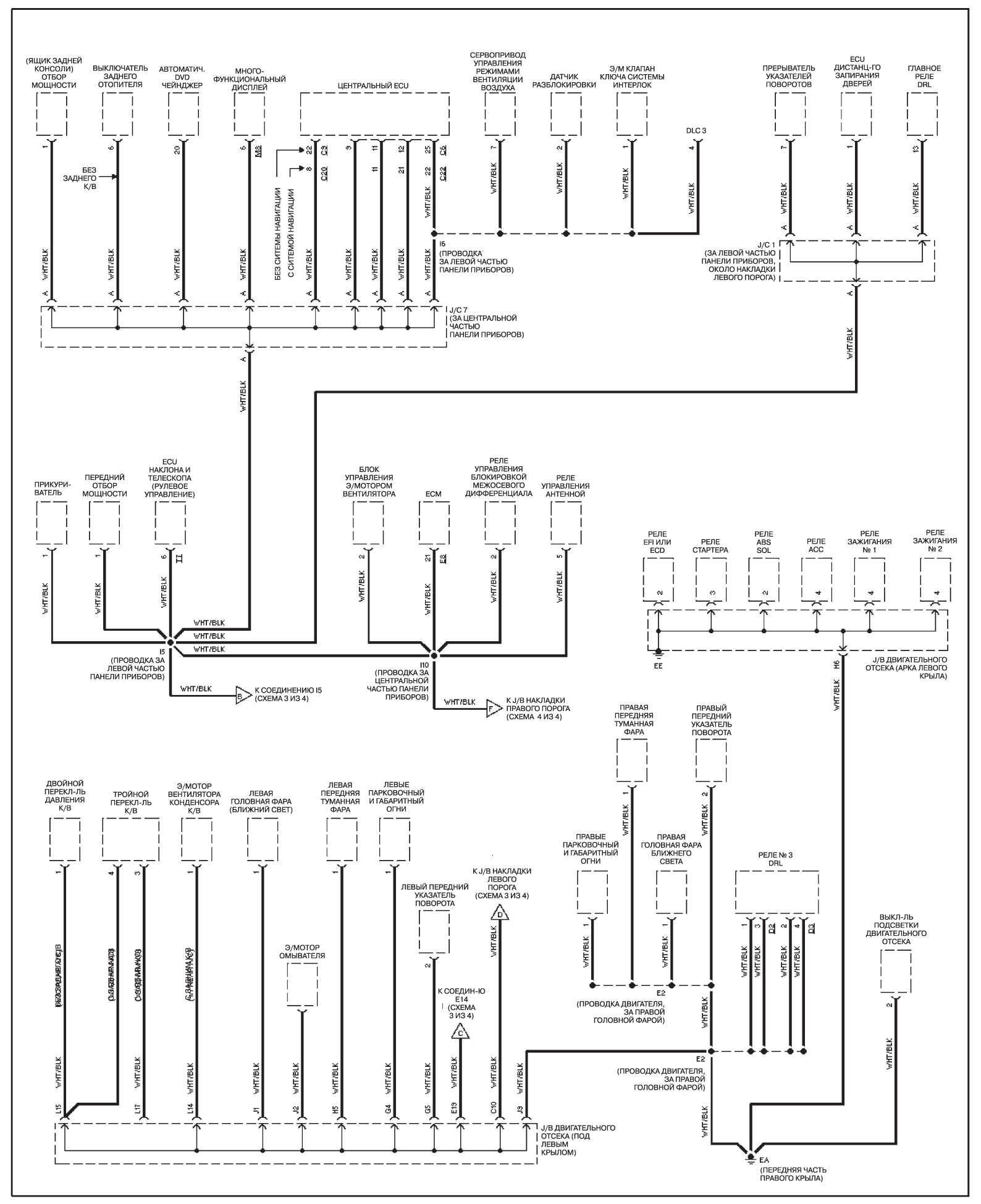 Электросхема распределения заземления Land Cruiser 100: